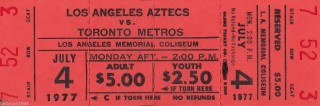 1974 NASL Metros at Aztecs ticket stub