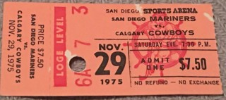 1975 WHA Calgary Cowboys at San Diego Mariners Ticket Stub