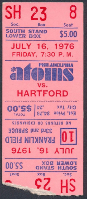 1976 NASL Hartford Bicentennials at Philadelphia Atoms ticket stub