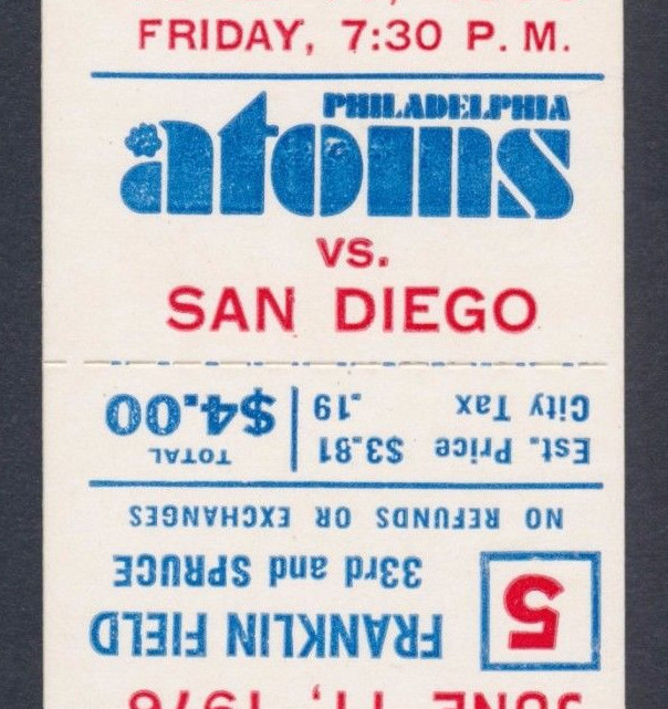 1976 NASL San Diego Sockers at Philadelphia Atoms ticket stub