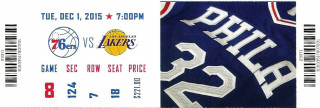 2015 NBA Lakers at 76ers Kobe Bryant Philly Farewell ticket stub 119