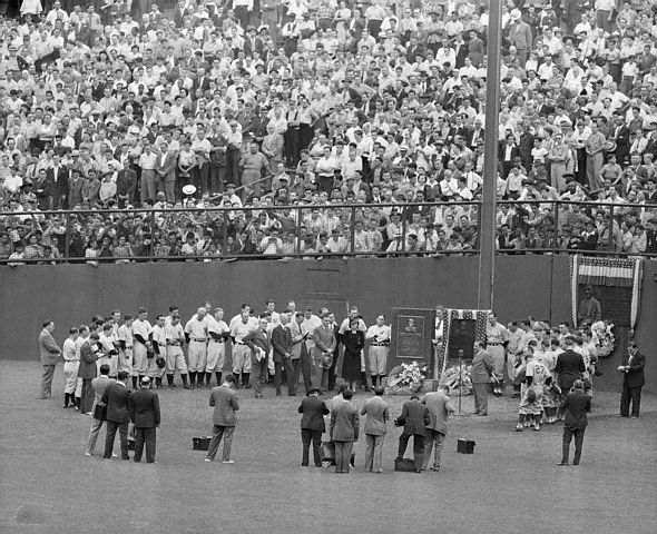 06 Jul 1941 --- Original caption: 7/6/1941-New York, NY: Mayor Fiorello LaGuardia is seen (R) speaking into the microphone, addressing the baseball throng at Yankee Stadium today, upon the unveiling of a granite memorial to the late Lou Gehrig, one of baseball's greatest heroes. Seen in the group are: Connie Mack (L), manager of the Athletics; Mrs. Lou Gehrig; Yankee manager Joe McCarthy and Bill Dickey, roommate of the late Lou Gehrig (behind Mrs. Gehrig). --- Image by © Bettmann/CORBIS