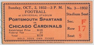 1932 NFL Chicago Cardinals at Portsmouth Spartans ticket stub 235