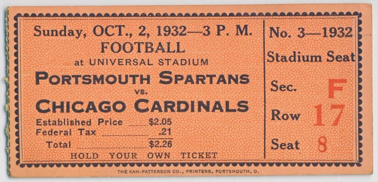 1932 NFL Chicago Cardinals at Portsmouth Spartans ticket stub