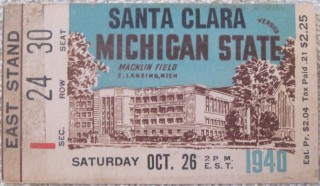 1940 NCAAF Santa Clara at Michigan State ticket stub
