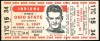 1947 NCAAF Indiana at Ohio State ticket stub