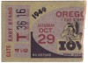 1949 NCAAF Oregon at Iowa ticket stub