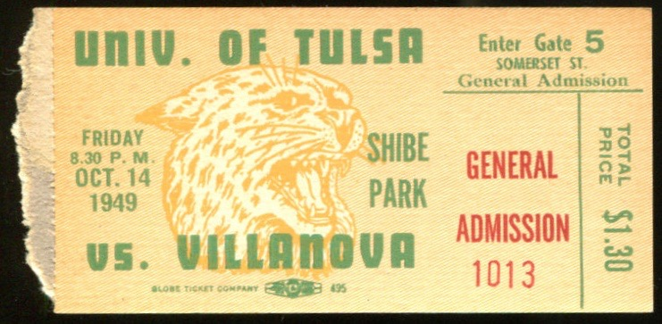 1949 NCAAF Tulsa at Villavova ticket stub