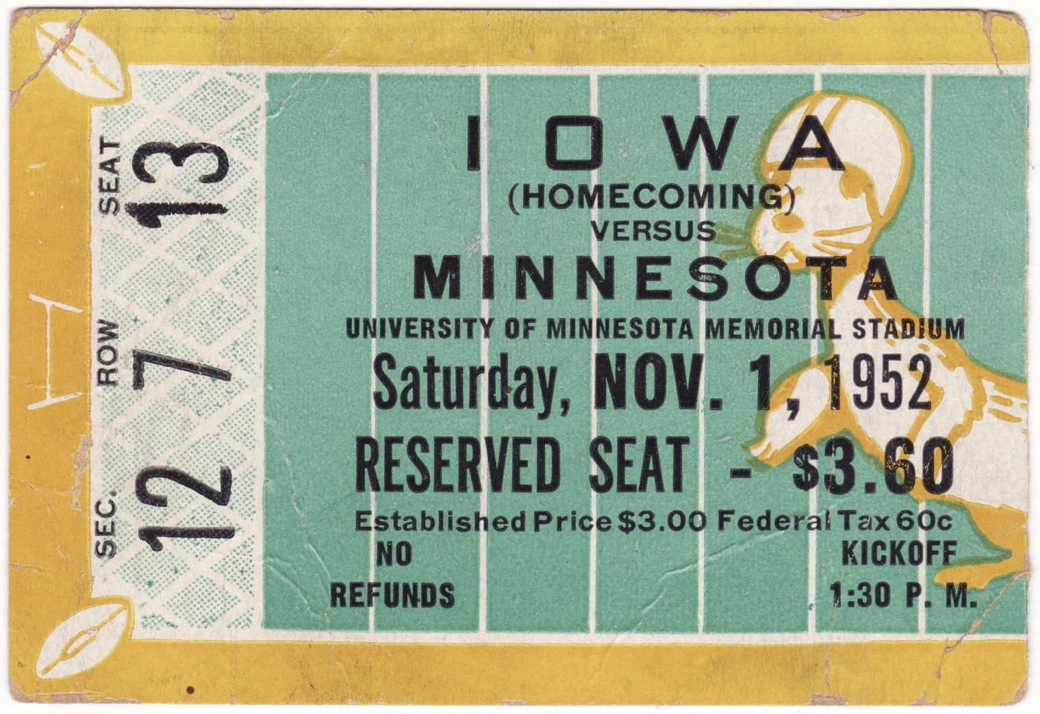 1952 NCAAF Iowa at Minnesota ticket stub