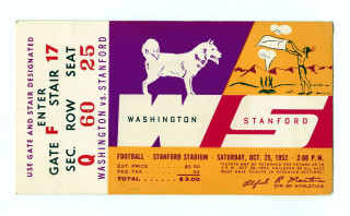1952 NCAAF Washington at Stanford ticket stub