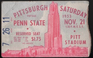 1953 NCAAF Penn State at Pittsburgh ticket stub