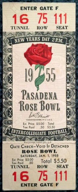 1955 Rose Bowl Ohio State Vs USC Full Ticket 80