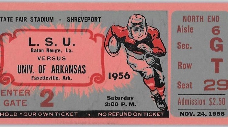 1956 NCAAF Arkansas at LSU ticket stub
