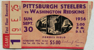 1956 NFL Redskins at Steelers ticket stub 15