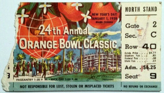 1958 Orange Bowl Oklahoma vs Duke ticket stub 17.51