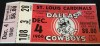 1966 NFL St. Louis Cardinals at Dallas Cowboys Ticket Stub