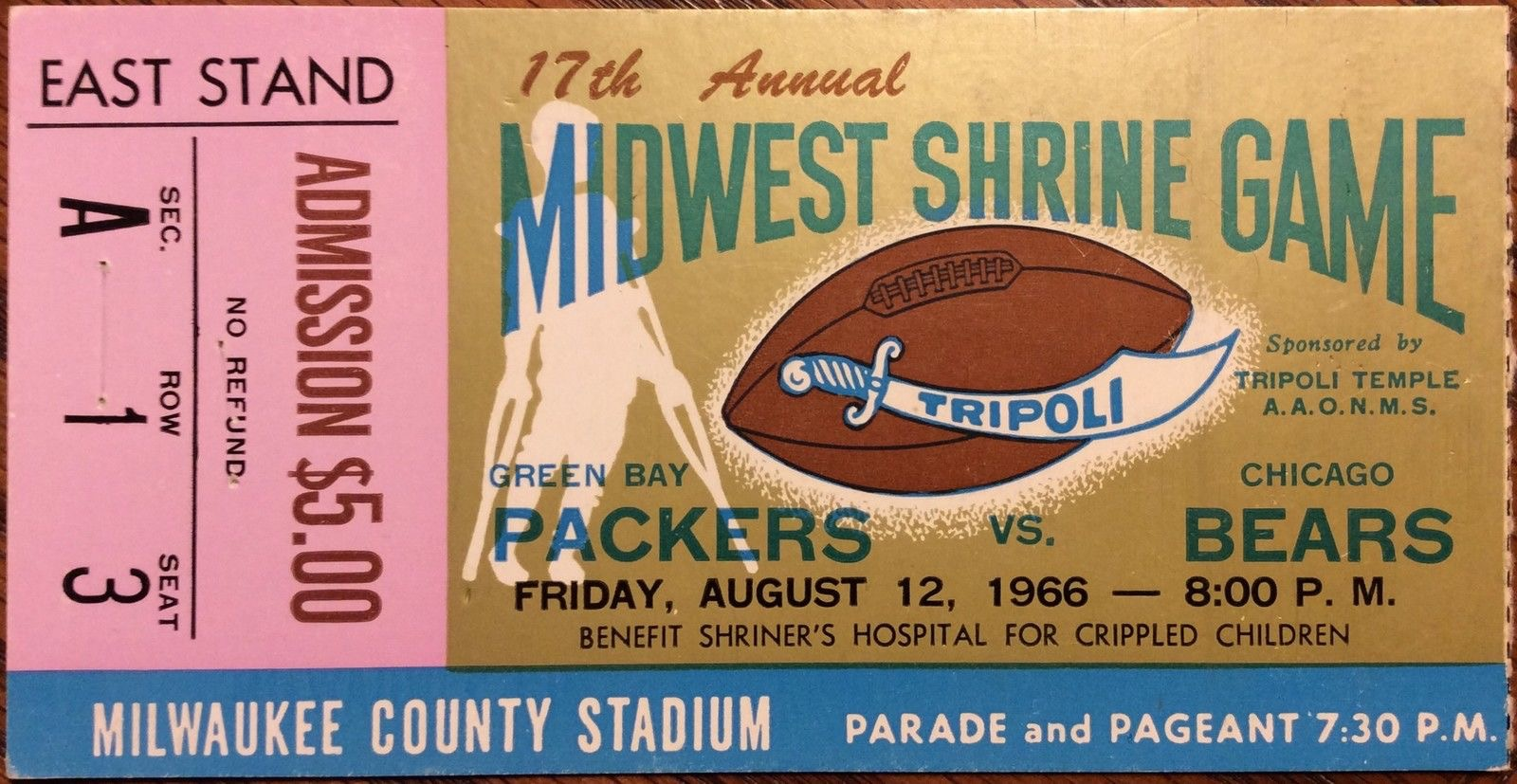 1966 NFL preseason Green Bay Packers vs Chicago Bears ticket stub
