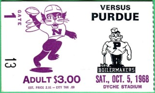 1968 NCAAF Purdue at Northwestern ticket stub