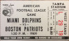 1969 AFL NFL  Boston Patriots at Miami Dolphins at Tampa ticket stub