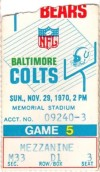 1970 NFL Chicago Bears at Baltimore Colts ticket stub