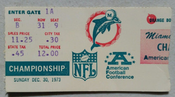 1973 AFC Championship Game Raiders at Dolphins ticket stub