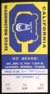 1976 NCAAF Washington State at California ticket stub