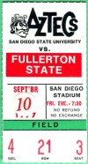 1977 NCAAF Fullerton State at San Diego State ticket stub