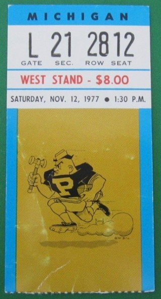 1977 NCAAF Michigan at Purdue ticket stub