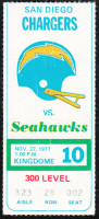 1977 NFL Chargers at Seahawks ticket stub