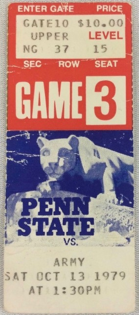1979 NCAAF Army at Penn State ticket stub