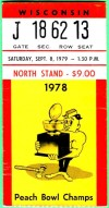 1979 NCAAF Wisconsin at Purdue ticket stub