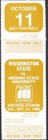 1980 NCAAF Washington State at Arizona State ticket stub
