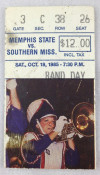 1985 NCAAF Southern Mississippi at Memphis State ticket stub