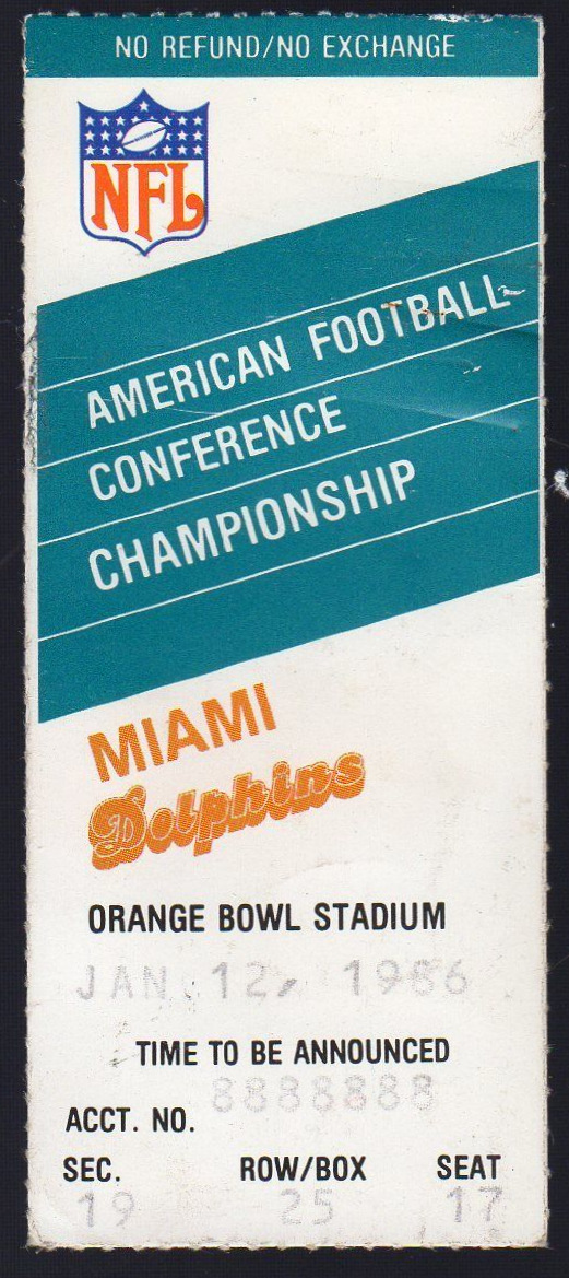 1986 AFC Championship Game Ticket Stub Patriots at Dolphins