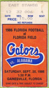 1986 NCAAF Alabama at Florida ticket stub