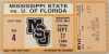 1986 NCAAF Florida at Mississippi State ticket stub