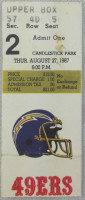1987 NFL Chargers at 49ers ticket stub