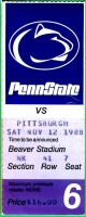 1988 NCAAF Pittsburgh at Penn State ticket stub