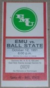 1991 NCAAF Ball State at Eastern Michigan ticket stub