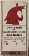 1991 NCAAF Washington State at Ohio State ticket stub
