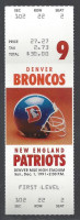 1991 NFL Patriots at Broncos ticket stub