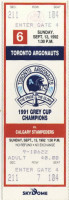 1992 CFL Stampeders at Argonauts ticket stub
