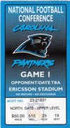 1996 NFL Playoffs Cowboys at Panthers ticket stub