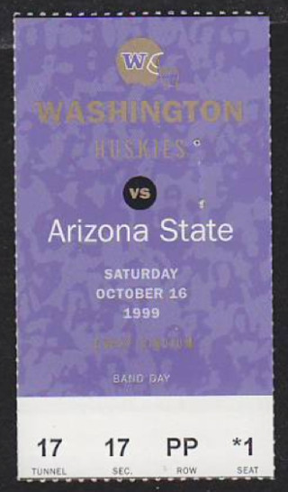 1999 NCAAF Arizona State at Washington ticket stub