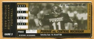 1999 NCAAF Central Michigan at Purdue ticket stub