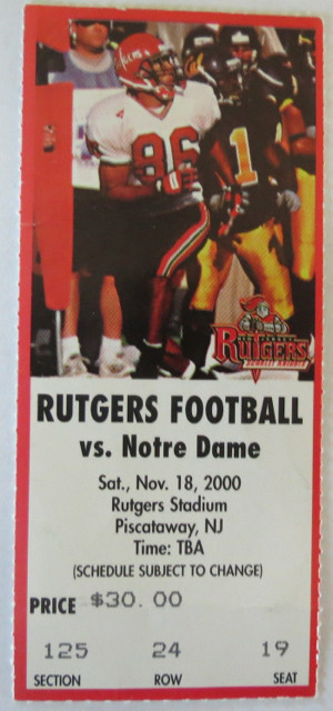 2000 NCAAF Notre Dame at Rutgers ticket stub