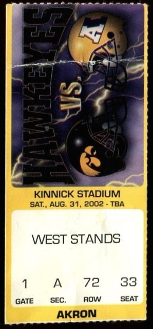 2002 NCAAF Akron at Iowa ticket stub