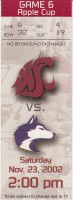 2002 NCAAF Washington at Washington State Apple Cup ticket stub