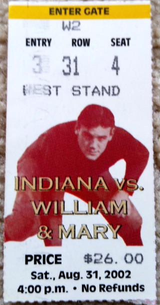 2002 NCAAF William and Mary at Indiana ticket stub