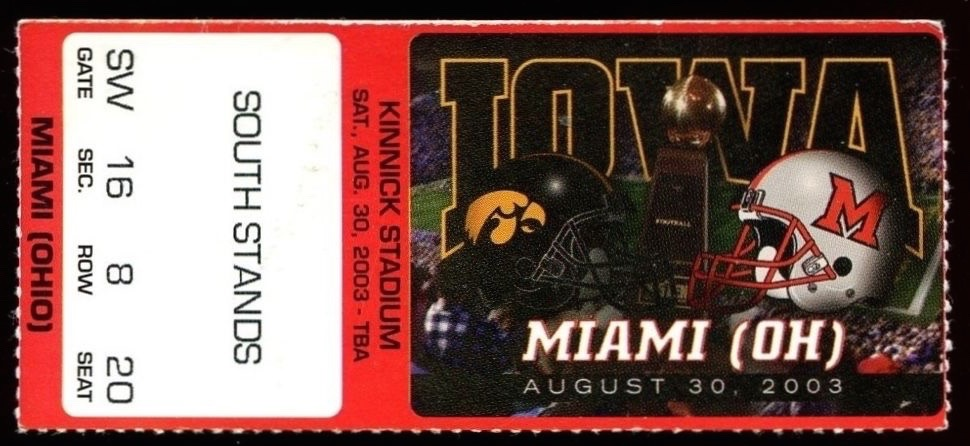 2003 NCAAF Miami Ohio at Iowa ticket stub